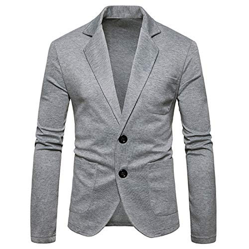 XLDD Men's Slim Fit Casual Suits Coat Solid Color Blazer Business Jacket Lightweight Two-Button Blazer Casual Suit Jacket Classic Elegant Sport Chic Formal Blazers S