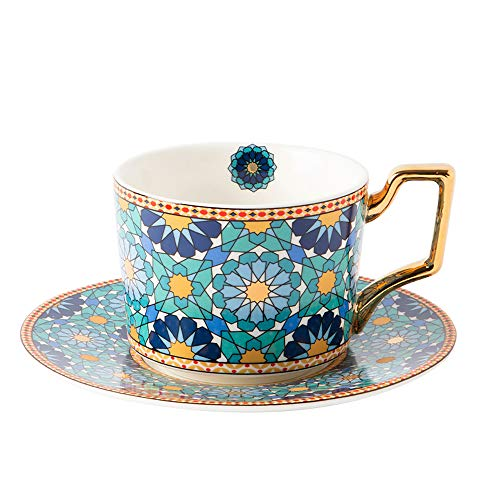 Tea Coffee Cups-7.8oz Bone China Porcelain Beautiful Tea Cup with Matching Saucers-Green