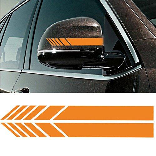 YOUNGFLY 2pcs Car Rear View Mirror Stickers Decor DIY Car Body Sticker Side Decal Stripe Decals SUV Vinyl Graphic Orange