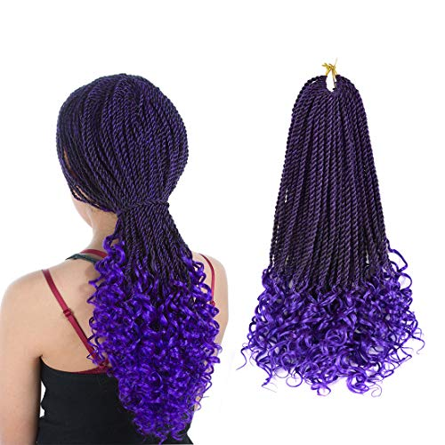Ling Xiu Senegalese Crochet Hair Curly Ends Goddess Crochet Braids Synthetic Box Braids Crochet Hair 18 Inch 5Packs 30Strands/Pack Senegalese Twist Curly Goddess(1B/Purple)
