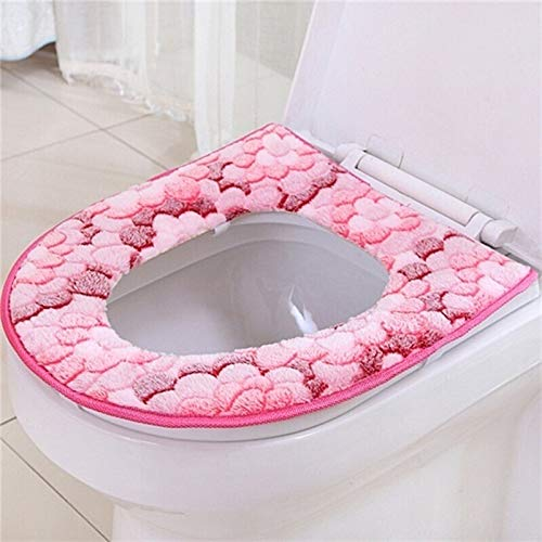 yywl Toilet Lid Seat Cover 2pcs Bathroom Flower Pattern Warmer Closestool Pad Washable Toilet Seat Lid Cover Mat (Color : Pink)