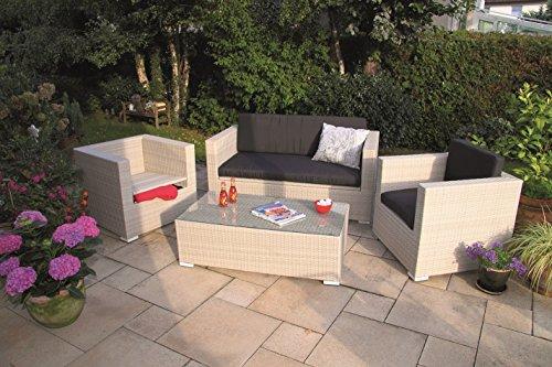 Forma Luxus Poly Rattan Lounge Elba Storage Antikweiß mit integrierten Kissenboxen und wasserabweisenden Kissen Outdoor Living