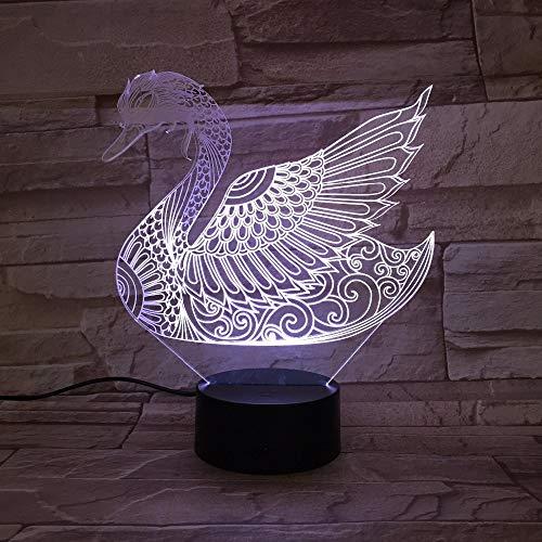 Coloré Swan Table Lampe Acrylique Stéréo Lumière Salle De Décoration pour Enfants Anniversaire De Noël Jouet Couleur Hologramme