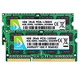 DUOMEIQI Kit de 8GB (2 X 4GB) 2RX8 PC3L-12800S DDR3L 1600MHz SO-DIMM CL11 204 Pin 1.35v Notebook Memoria RAM No ECC Sin búfer