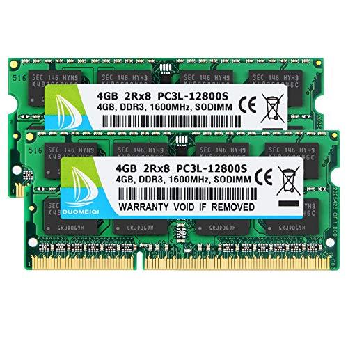 Kit DUOMEIQI 8 Go (2 X 4 Go) 2RX8 PC3L-12800S DDR3L 1600 MHz So-DIMM CL11 204 Broches 1,35 v / 1,5 v Mémoire pour Ordinateur Portable RAM Non-ECC Unbuffered pour Intel AMD et Mac