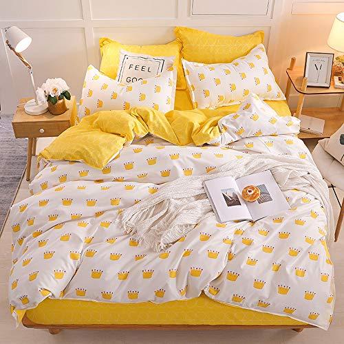Mijia Yellow Crown eenpersoonsbed-set met activiteitsdruk, eenvoudig tweepersoonsbed, grote eenpersoonsbedden, extra grote bedden, single