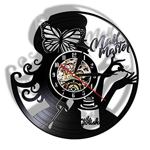 LWXJK Uñas Maestro De Salón De Belleza Reloj De Pared Hecho De La Vendimia De Discos De Vinilo Uñas De Manicura Salón De Negocios De Estudio Signo De Técnico De Uñas Regalo