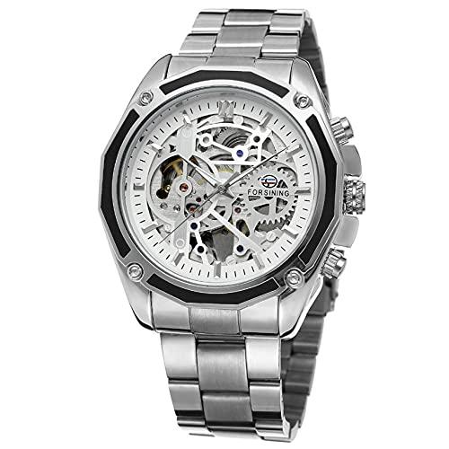 Excellent Reloj para Hombre Reloj de Pulsera Luminoso de Lujo para Hombre Reloj de Pulsera mecánica automática de Acero Inoxidable Vestido de Acero Inoxidable Strao Reloj Impermeable,A02