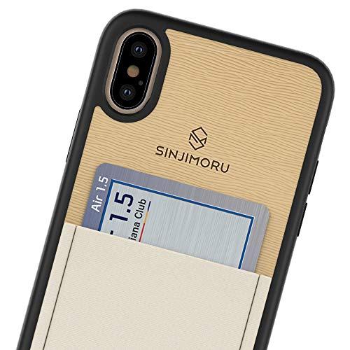 Sinjimoru - Funda para iPhone XS MAX (2018) con Tarjetero, Carcasa de TPU para iPhone XS MAX. Sinji - Funda para iPhone XS MAX, Color Beige.