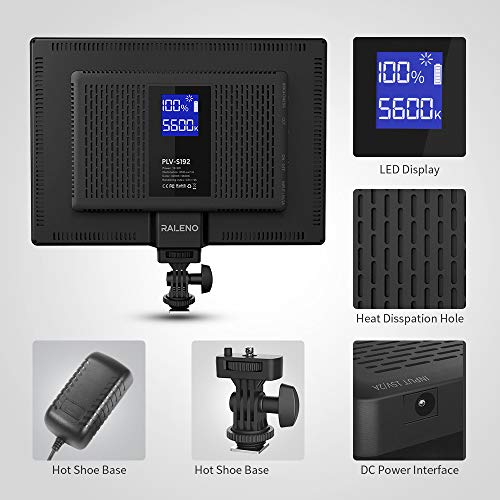 RALENO LED Video Light, Built-in Rechargeable Batteries 3200-5600K Bi-Color and Brightness Dimmable CRI95+ Ultra-thin Panel Camera Light with LCD Display for Children/Baby YouTube Interview Portrait