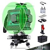 Laser Niveau Vert Rechargeable 12 lignes Niveau laser Green à Nivellement Automatique Ligne Croisée 3x360 ° Outil de Mise à Niveau Laser Rotatif