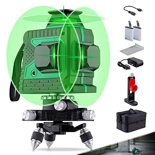 Laser Niveau Vert Rechargeable 12 lignes Niveau laser Green à Nivellement Automatique Ligne...