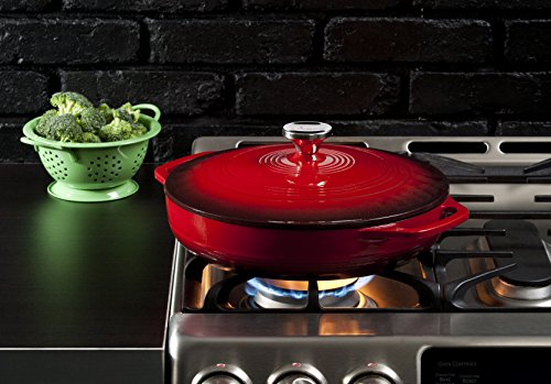 Lodge 3.6 Quart Cast Iron Casserole Pan. Red Enamel Cast Iron Casserole Dish with Dual Handles and Lid (Island Spice Red)