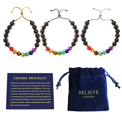 Believe London Chakra Bracelet with Jewellery Bag & Meaning Card | Adjustable Bracelet to Fit Any Wrist | 7 Chakra Natural Stone | Healing Reiki Yoga (Black Chain)