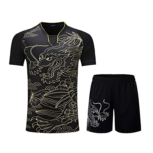 Xhwyf Camisetas de tenis trajes de la camisa de las mujeres/los hombres, trajes de bádminton tenis de mesa camiseta pantalones cortos ropa de tenis de mesa trajes