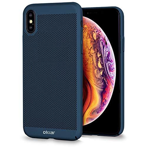Olixar Funda iPhone XS MAX - Diseño Malla Fina Carcasa - Disipación de Calor/Patrón De Malla Perforada - Ultradelgado MeshTex - Antideslizante - Color Azul Marino