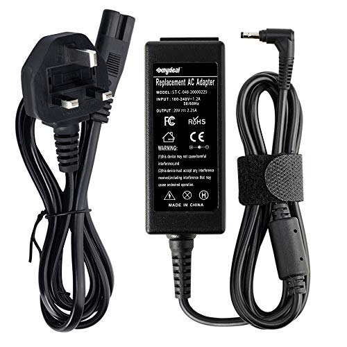 Sunydeal 45W Laptop Charger 20V 2.25A Power Adapter for Lenovo IdeaPad 100 100S 110 110S 120 120S 300 310 320 500 510 510S 520S 710S Yogo 710 Chromebook N22 N23 N42 Flex 4 5 Power Supply Cord