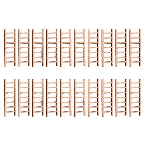 Holibanna 20 Piezas Escalera de Casa de Muñecas Escalera de Madera en Miniatura Juguete DIY Jardín de Hadas Escalera Recta Micro Paisaje Accesorio para Jardín de Hadas Maceta Decoración