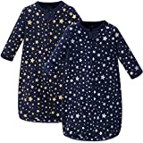 Hudson Baby Unisex Baby Cotton Long-Sleeve Wearable Sleeping Bag, Sack, Blanket, Metallic Stars, 3-9 Months