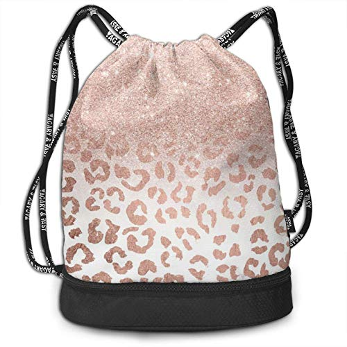 XCNGG Drawstring Backpack,Rose Gold Glitter Print Sport Travel Gym Bundle Backpack Bag