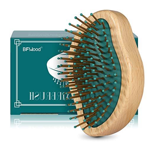 BFWood Cepillo de Pelo de Madera Profesional - Desenreda Todo Tipo de Pelo y Masajea el Cuero Cabelludo