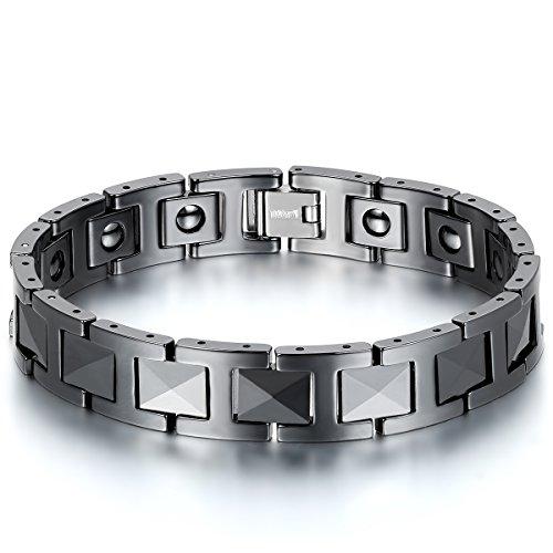 JewelryWe Schmuck Herren Magnet Armband, Keramik Porzellan, 12mm Breit I Link Gesundheit Magnetarmband Armreif, Schwarz
