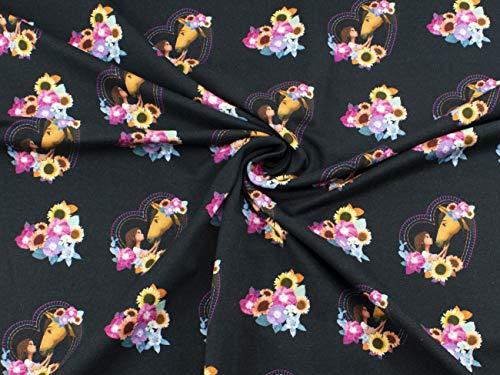 Spirit Stoff auf Baumwoll-Jersey im Digitaldruck mit Lucky und Spirit im Herz mit Blumen auf schwarz aus 95% Baumwolle und 5% Elasthan mit 200g/m² als Stoff-Meterware ab 25 cm