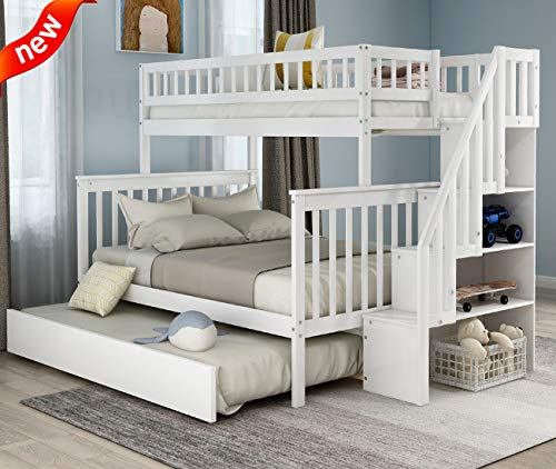Big Save! Rajmarti Updated Version Luxurious Twin Over Full Bunk Bed with Trundle, Thicken Solid Woo...