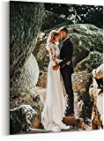 Canvas Prints with Your Photos, Personalized Canvas Wall Art Wedding Baby Dog Family Pictures Home Decor, Customized Gifts with Stretcher Bar (Framed Cavnas, 11'x14')