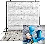 BINQOO blanco ladrillo pared gris madera piso fotografía fondo bebé recién nacido ducha foto foto niño niño 1er cumpleaños fiesta foto telón de fondo (150 cm de ancho x 210 cm)