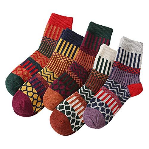 5 Paar Damenmode Retro bedruckte Baumwolle Patchwork Socken Strümpfe, Damen Socken mehrfarbig mit Streifen, Punkte und Weihnachts-Motiven, Süße Baumwoll Damensocken in verschiedenen Mustern(2#)