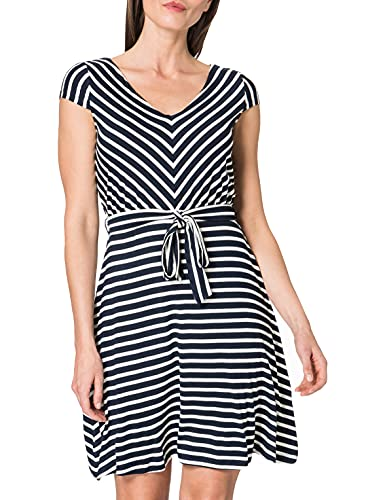 TOM TAILOR Damen 1026052 Feminine Kleid, 21341-Navy Stripe, 38