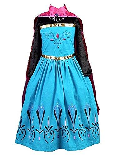 La Señorita Disfraz de Elsa Princesa de Las Nieves Vestido de coronacion Negro-Azul con Capa Rosa + Collar (7-8 años)