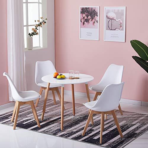DORAFAIR Runder Esstisch Küchentisch Wohnzimmer Tisch, Skandinavisch Beistelltisch MDF, Beine Natur, Weiß