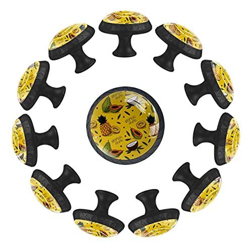 (12 piezas) pomos de cajón para cajones, tiradores de cristal para gabinete con tornillos para gabinete, hogar, oficina, armario, frutas tropicales, papava, piña, patrón de 35 mm
