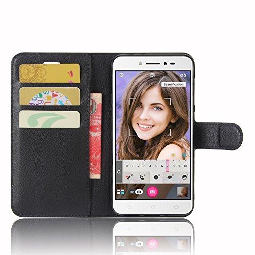 """SMTR Asus Zenfone Live ZB501KL (5"""") Coque PU Cuir Flip Housse Étui Cover Case Wallet Portefeuille Supporter avec Carte de Crédit Fentes pour Asus Zenfone Live ZB501KL -Noir"""