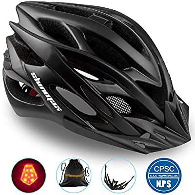 Basecamp Specialized Bike Helmet with CPSC&CE Certified/Safety Light/Removable Visor/Protable Backpack,Adjustable Cycling/Bicycle Helmet for Road/Mountain Men/Women