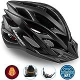 Basecamp Specialized Bike Helmet, Bicycle Helmet CPSC&CE Certified with Helmet Accessories-LED Light&Removable Visor&Portable Bag Cycling Helmet BC-DDTK Adjustable for Men/Women(Black)
