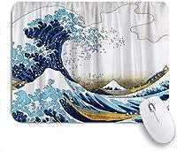 PATINISAマウスパッド スペースジャパニーズブルー北斎美の大波 ゲーミング オフィス最適 高級感 おしゃれ 防水 耐久性が良い 滑り止めゴム底 ゲーミングなど適用 マウス 用ノートブックコンピュータマウスマット