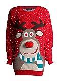 ZEE FASHION Damen Unisex Rudolph Drucken 3D Nase Pom Pom Weihnachts Pullover