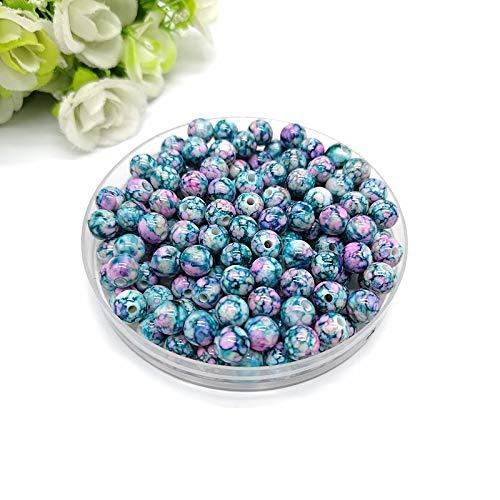 XSWY 8mm-14mm Schmucksache-runde Form-Korn-Herstellung Acrylkorn-Multicolor-lose Korn-Schmuck DIY Zubehörs (Farbe : Blau, Item Diameter : 10mm 30pcs)