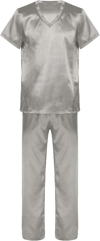 JanJean Mens Solid Color Silky Satin Short Sleeve Sleepwear V Neck Tops with Long Pants Pajamas Set