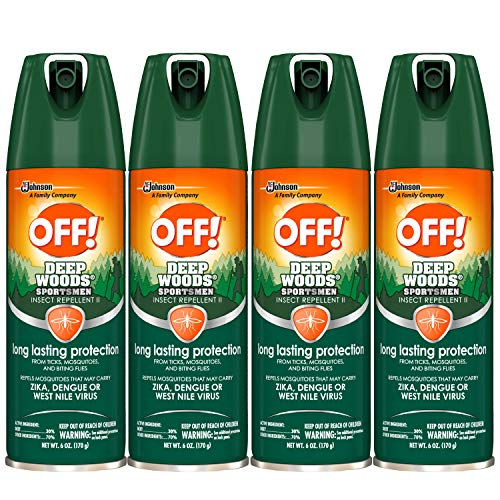 OFF! Sportsmen Deep Woods Insect and Mosquito Repellent II, Long Lasting Protection, Bug Spray 6 oz. (Pack of 4)