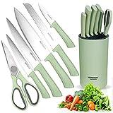 HOTOWON Bloque de cuchillos de cocina, juego de 7 piezas, incluye cuchillo de cocina, cuchillo de pan, cuchillo universal, cuchillo de trinchar, cuchillo de verduras, tijeras de acero inoxidable.