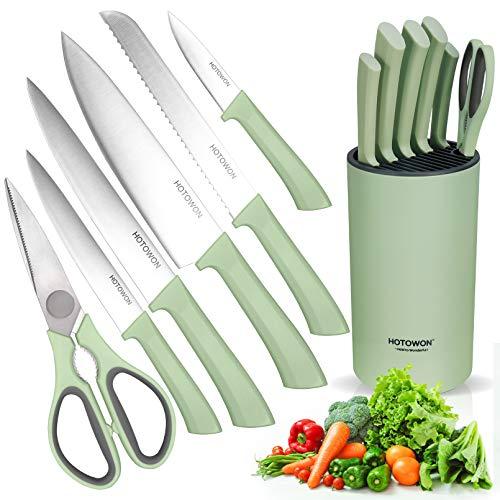 HOTOWON Messerblock mit Küchenmesser Set 7 Teilig Messerset inklusive Kochmesser, Brotmesser, Universalmesser, Tranchiermesser, Gemüsemesser, Schere aus rostfreier Stahl