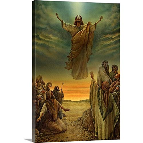 "Jesus Ascending into Heaven Canvas Wall Art Print, 32""x48""x1.25"""