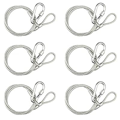 6 Pack Safety Security Cable Stainless Steel Rope for Stage Lighting Max Load 70 Kg Length: 70 cm Diameter (with PVC) 4mm
