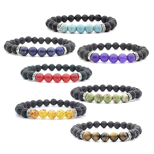 ULTNICE Lava Rock and Chakra Beaded Bracelet 8mm Volcanic Stone Prayer Bead Bracelet for Unisex Essential Oil Diffuser 7PCS