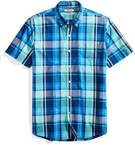 Amazon Brand Goodthreads Men s Standard Fit Short Sleeve Large Scale Plaid Shirt Blue Aqua XX product image