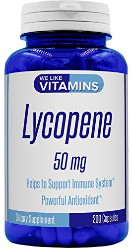 Lycopene 50mg 200 Capsules - Lycopene Supplement - Super Antioxidant which Helps Support Immune System and Prostate Health